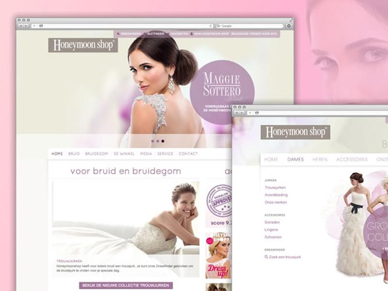 Ontwerp van website Honeymoon shop