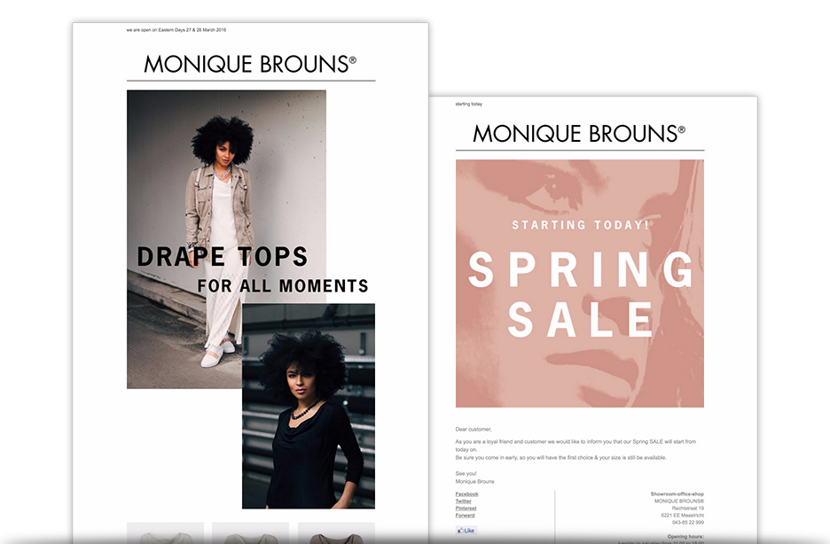 Monique Brouns webshop email marketing